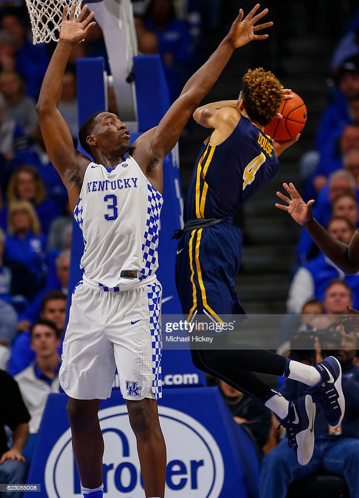 Edrice Adebayo #3 of the Kentucky Wildcats defends as Kiefer Douse #4 of the Canisius Golden Griffins shoots the ball at Rupp Arena Stadium on November 13, 2016 in Lexington, Kentucky. Kentucky defeated Canisius 93-69.