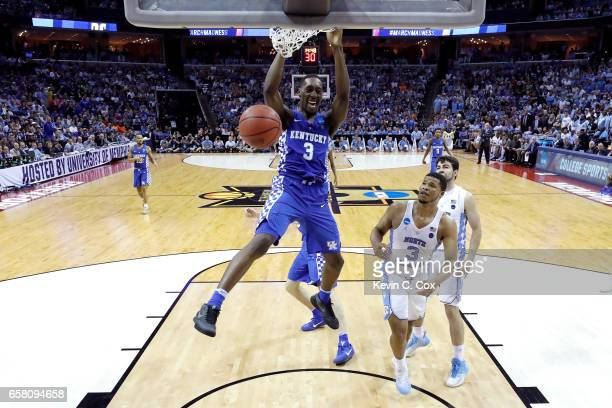 Edrice Adebayo of the Kentucky Wildcats dunks in the second half against Kennedy Meeks of the North Carolina Tar Heels during the 2017 NCAA Men's...