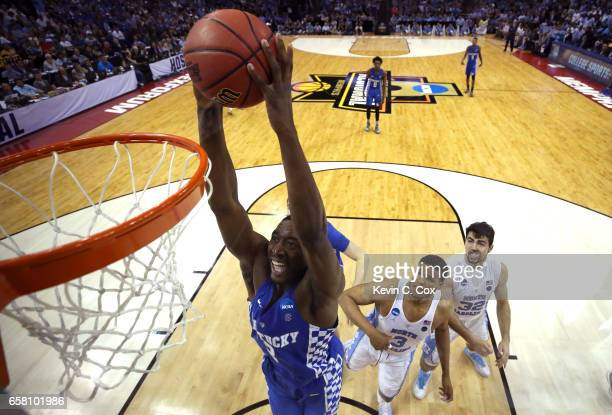 Edrice Adebayo of the Kentucky Wildcats goes up for a dunk in the second half against the North Carolina Tar Heels during the 2017 NCAA Men's...