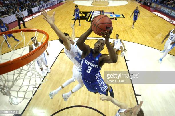 Edrice Adebayo of the Kentucky Wildcats goes up for a shot against Justin Jackson of the North Carolina Tar Heels in the second half during the 2017...