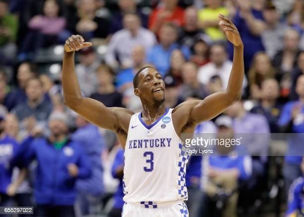 Edrice Adebayo of the Kentucky Wildcats reacts to his dunk in the second half against the Wichita State Shockers during the second round of the 2017...