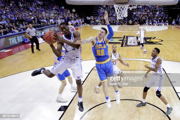 Edrice Adebayo of the Kentucky Wildcats shoots against TJ Leaf of the UCLA Bruins in the second half during the 2017 NCAA Men's Basketball Tournament...