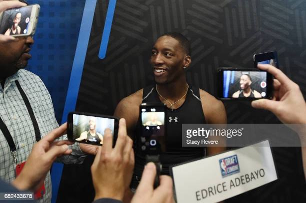 Edrice Adebayo speaks to reporters during Day Two of the NBA Draft Combine at Quest MultiSport Complex on May 12 2017 in Chicago Illinois NOTE TO...