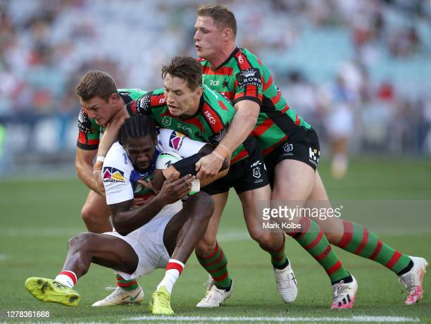 Edrick Lee of the Knights is tackled during the NRL Elimination Final match between the South Sydney Rabbitohs and the Newcastle Knights at ANZ...