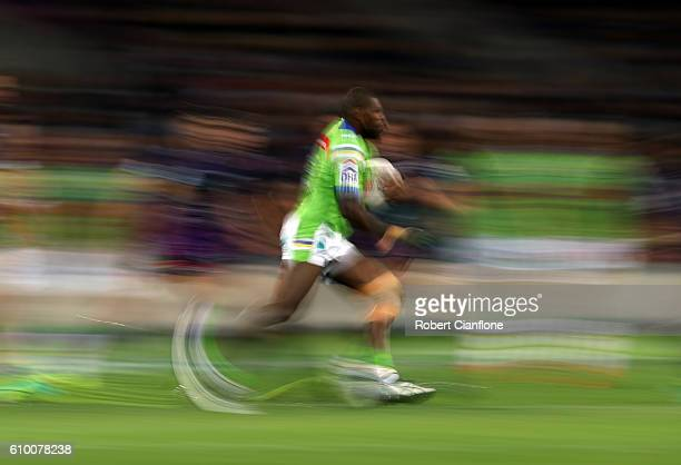 Edrick Lee of the Raiders runs with the ball during the NRL Preliminary Final match between the Melbourne Storm and the Canberra Raiders at AAMI Park...