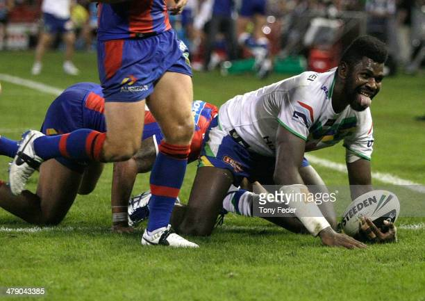 Edrick Lee of the Raiders scores a try during the round two NRL match between the Newcastle Knights and the Canberra Raiders at Hunter Stadium on...