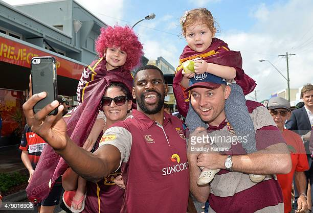 Edrick Lee takes a selfie with fans during the Queensland Maroons State of Origin fan day on June 30 2015 in Proserpine Australia