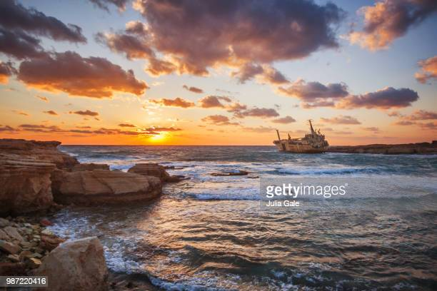 edro iii shipwreck - cyprus stock photos and pictures