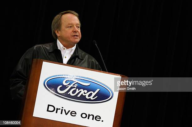 Edsel Ford II speaks to the media during the NASCAR Sprint Media Tour hosted by Charlotte Motor Speedway, held at the Roush-Fenway hanger of Concord...