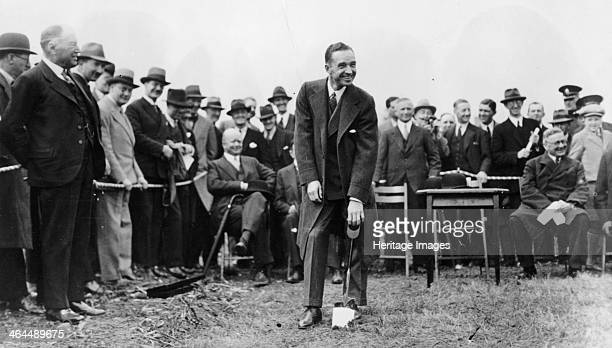 Edsel Ford turning the first sod at the site of Ford's plant at Dagenham Essex late 1920s Ford performing the ceremony of turning the first sod to...