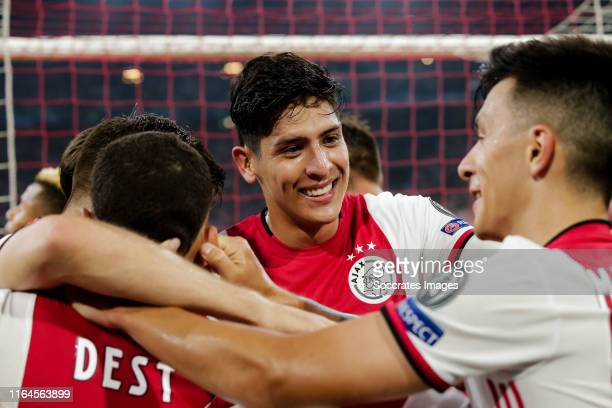 Edson Alvarez of Ajax, celebrate the 2-0 during the UEFA Champions League match between Ajax v Apoel Nicosia at the Johan Cruijff Arena on August 28,...