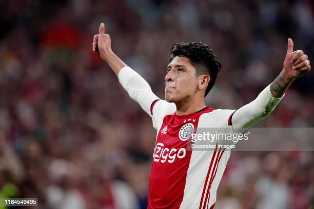 Edson Alvarez of Ajax celebrates 10 during the UEFA Champions League match between Ajax v Apoel Nicosia at the Johan Cruijff Arena on August 28 2019...