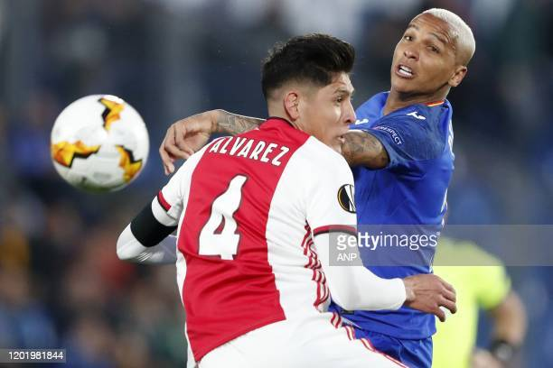 Edson Alvarez of Ajax Deyverson of Getafe CF during the UEFA Europa League round of 32 first leg match between Getafe CF and Ajax Amsterdam at...