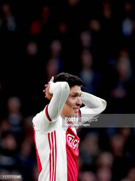 Edson Alvarez of Ajax during the UEFA Champions League match between Ajax v Chelsea at the Johan Cruijff Arena on October 23 2019 in Amsterdam...