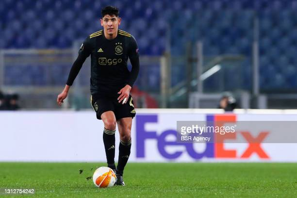 Edson Alvarez of Ajax during the UEFA Europa League Quarter Final: Leg Two match between AS Roma and Ajax at Stadio Olimpico on April 15, 2021 in...