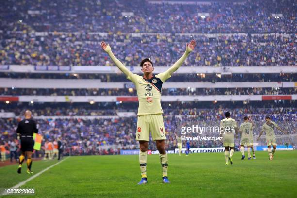 Edson Alvarez of America celebrates after scoring the first goal of his team during the final second leg match between Cruz Azul and America as part...