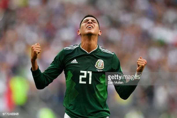 Edson Alvarez of Mexico celebrates following his sides victory in the 2018 FIFA World Cup Russia group F match between Germany and Mexico at Luzhniki...