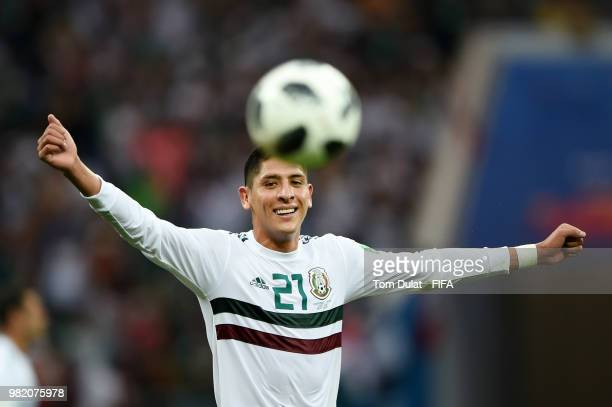 Edson Alvarez of Mexico celebrates following his sides victory in the 2018 FIFA World Cup Russia group F match between Korea Republic and Mexico at...
