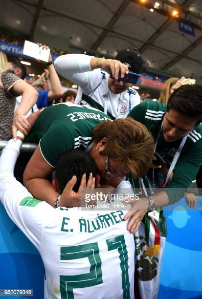 Edson Alvarez of Mexico celebrates with fans during the 2018 FIFA World Cup Russia group F match between Korea Republic and Mexico at Rostov Arena on...