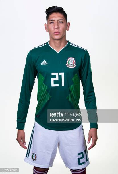 Edson Alvarez of Mexico poses for a portrait during the official FIFA World Cup 2018 portrait session at the Team Hotel on June 12 2018 in Moscow...