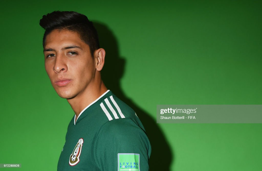 Edson Alvarez of Mexico poses for a portrait during the official FIFA World Cup 2018 portrait session at the team hotel on June 12, 2018 in Moscow, Russia.