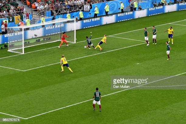Edson Alvarez of Mexico scores an own goal to put Sweden 30 during the 2018 FIFA World Cup Russia group F match between Mexico and Sweden at...