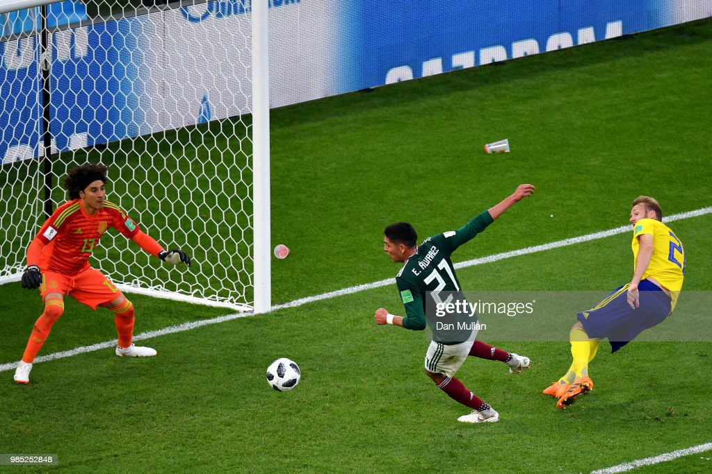 Edson Alvarez of Mexico scores an own goal to put Sweden 3-0 during the 2018 FIFA World Cup Russia group F match between Mexico and Sweden at Ekaterinburg Arena on June 27, 2018 in Yekaterinburg, Russia.