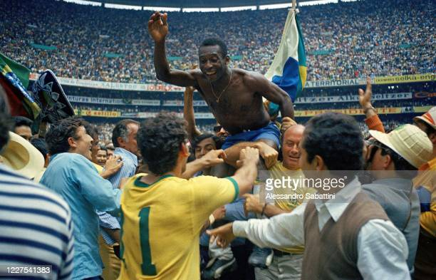 Edson Arantes Do Nascimento Pele of Brazil celebrates the victory after winnings the 1970 World Cup in Mexico match between Brazil and Italy at...