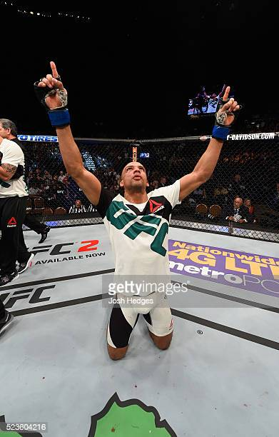 Edson Barboza celebrates his victory over Anthony Pettis in their lightweight bout during the UFC 197 event inside MGM Grand Garden Arena on April 23...