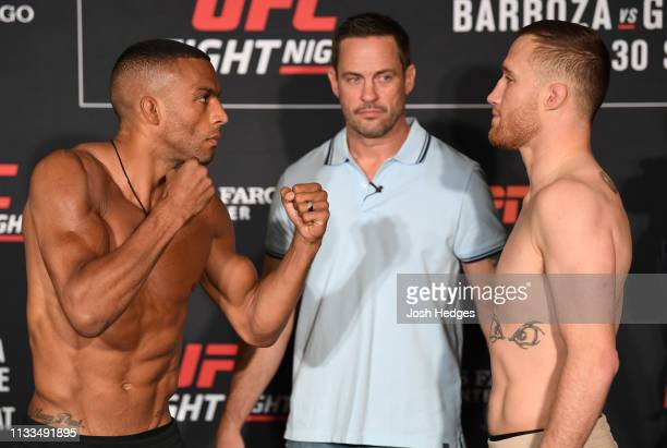 Edson Barboza of Brazil and Justin Gaethje face off during the UFC Fight Night weighin at Crowne Plaza Wilmington North on March 29 2019 in Claymont...