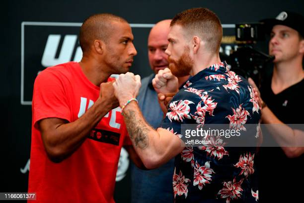 Edson Barboza of Brazil and Paul Felder face off during the UFC 242 Ultimate Media Day at the Yas Hotel on September 5 2019 in Abu Dhabi United Arab...