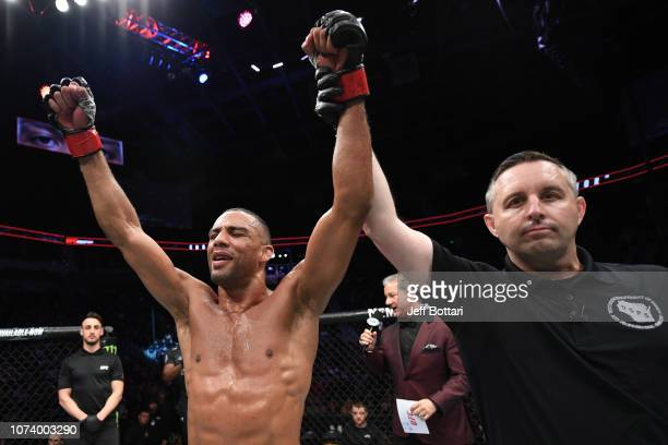 Edson Barboza of Brazil celebrates his victory over Dan Hooker of New Zealand in their lightweight bout during the UFC Fight Night event at Fiserv...