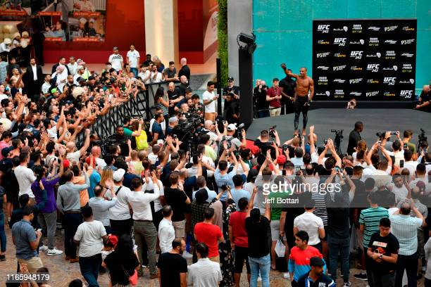 Edson Barboza of Brazil holds an open training session for fans and media at Yas Mall on September 4 2019 in Abu Dhabi United Arab Emirates