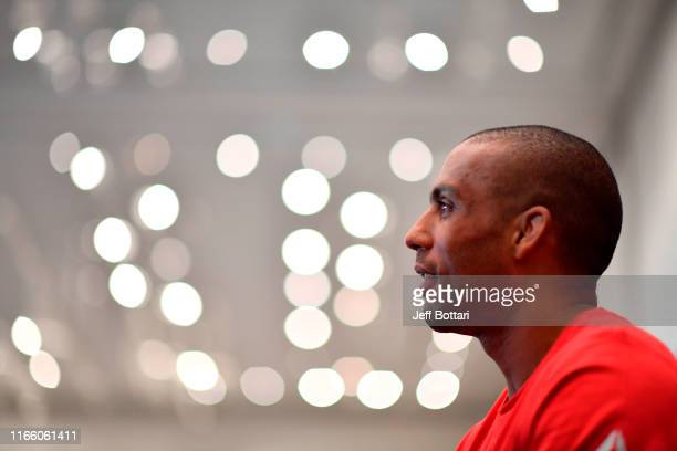 Edson Barboza of Brazil interacts with media during the UFC 242 Ultimate Media Day at the Yas Hotel on September 5 2019 in Abu Dhabi United Arab...