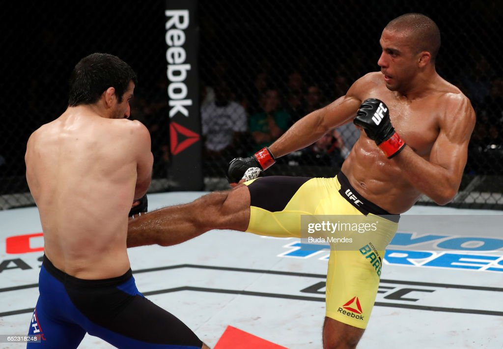 Edson Barboza of Brazil kicks Beneil Dariush of Iran in their lightweight bout during the UFC Fight Night event at CFO - Centro de Formaco Olimpica on March 11, 2017 in Fortaleza, Brazil.