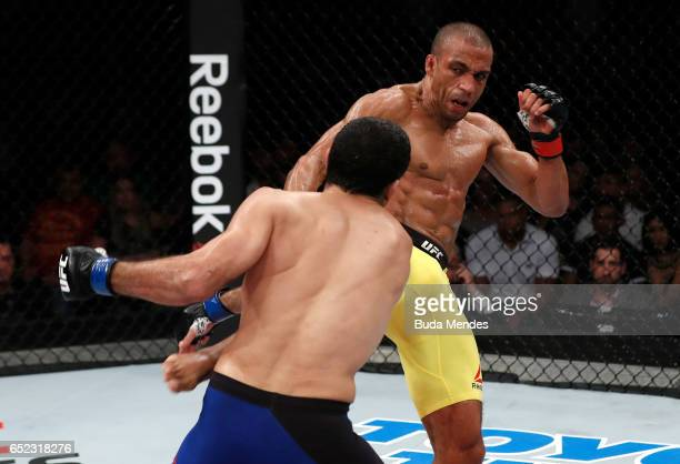 Edson Barboza of Brazil kicks Beneil Dariush of Iran in their lightweight bout during the UFC Fight Night event at CFO Centro de Formaco Olimpica on...