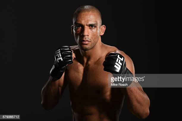 Edson Barboza of Brazil poses for a post fight portrait backstage during the UFC Fight Night event at the United Center on July 23 2016 in Chicago...