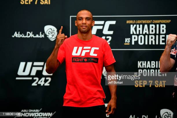 Edson Barboza of Brazil poses for media during the UFC 242 Ultimate Media Day at the Yas Hotel on September 5 2019 in Abu Dhabi United Arab Emirates