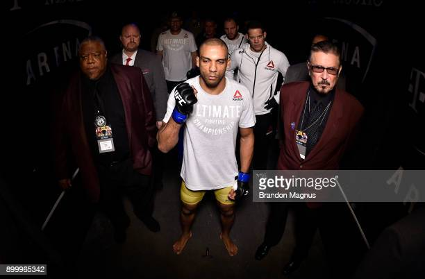 Edson Barboza of Brazil prepares to face Khabib Nurmagomedov in their lightweight bout during the UFC 219 event inside TMobile Arena on December 30...