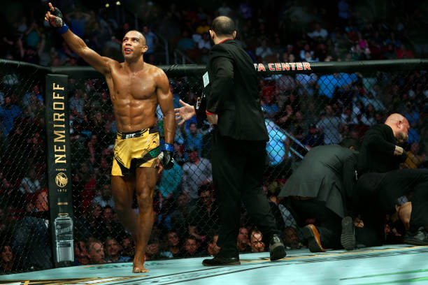 Edson Barboza of Brazil reacts after defeating Shane Burgos in their featherweight bout during the UFC 262 event at Toyota Center on May 15, 2021 in...