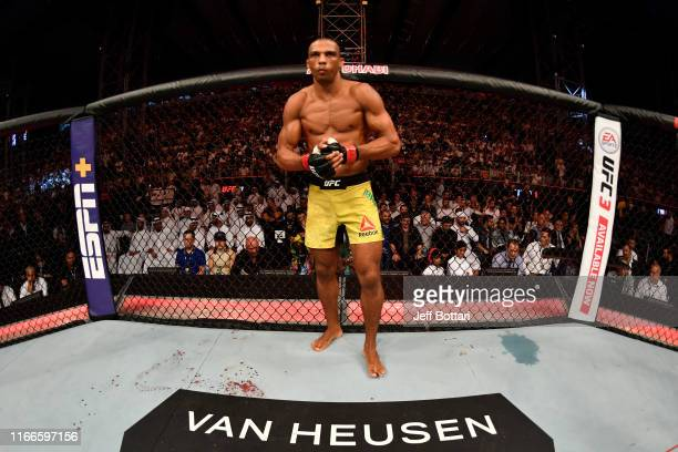 Edson Barboza of Brazil stands in his corner prior to his lightweight bout against Paul Felder during UFC 242 at The Arena on September 7 2019 in Yas...