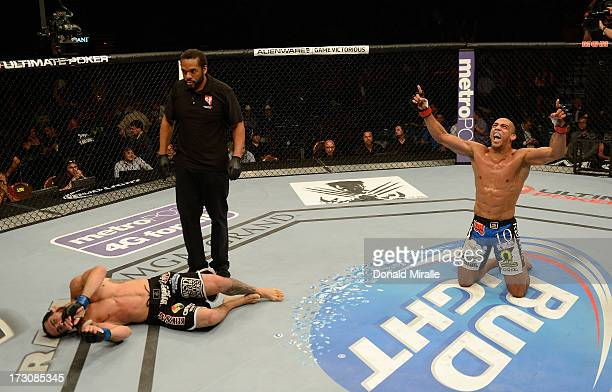 Edson Barboza reacts to his victory over Rafaello Oliveira in their lightweight fight during the UFC 162 event inside the MGM Grand Garden Arena on...