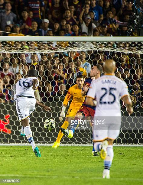Edson Buddle of Los Angeles Galaxy takes a shot on goal during the International Champions Cup 2015 match between FC Barcelona and Los Angeles Galaxy...