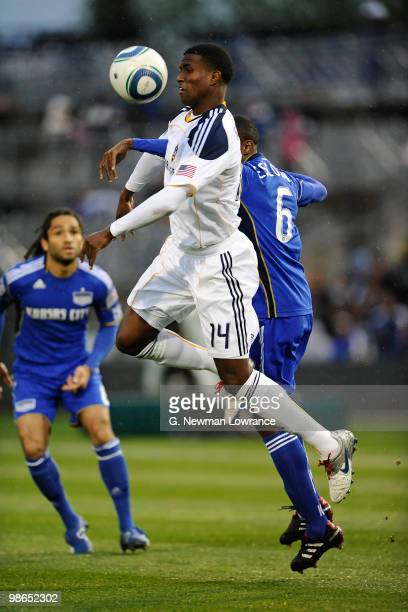 Edson Buddle of the Los Angeles Galaxy advances the ball during an MLS match against the Kansas City Wizards on April 24 2010 at Community America...