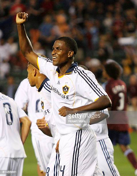 Edson Buddle of the Los Angeles Galaxy celebrate a goal against the Colorado Rapids during their MLS game at Home Depot Center on June 7 2008 in...