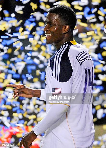 Edson Buddle of the Los Angeles Galaxy celebrates his second goal of the soccer match against of Chivas USA during the second half of the MLS soccer...