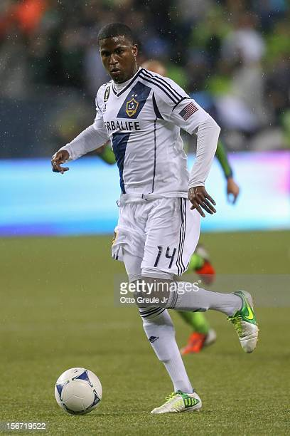 Edson Buddle of the Los Angeles Galaxy dribbles against the Seattle Sounders FC during Leg 2 of the Western Conference Championship at CenturyLink...