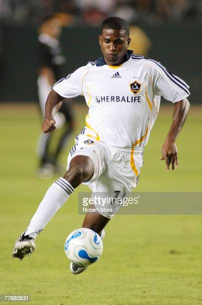 Edson Buddle of the Los Angeles Galaxy during the celebrity soccer match against Hollywood United FC at Home Depot Center on November 4 2007 in...