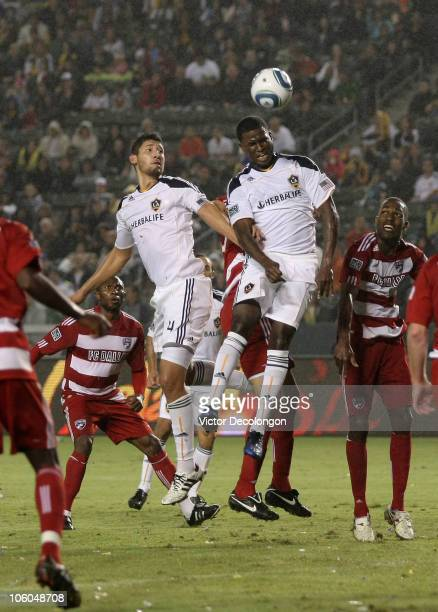 Edson Buddle of the Los Angeles Galaxy heads the corner kick on goal against FC Dallas during the MLS match on October 24 2010 in Carson California...