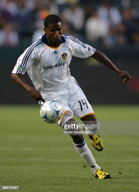 Edson Buddle of the Los Angeles Galaxy looks to control the ball during the MLS match against Real Salt Lake at The Home Depot Center on June 13 2009...